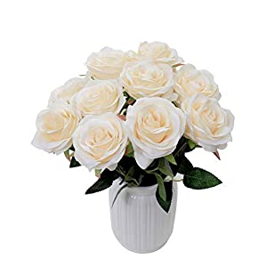 LUSHIDI Artificial Flower Rose Silk Bouquet for Baby Shower Party Home Wedding Decoration,Pack of 10 (Cream) 19