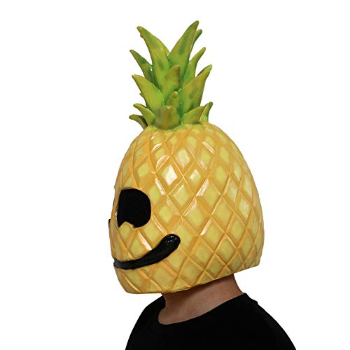 Cosplay Halloween Mask,Novelty Scary Latex Pumpkin Head Mask,Latex Pineapple Face Fruit Head Mask,Horror Costume -