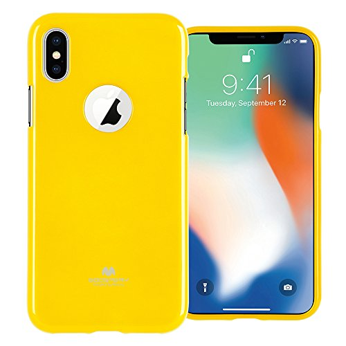iPhone Xs Case, iPhone X Case with Screen Protector [Slim Fit] GOOSPERY [Lightweight] Pearl Jelly [Flexible] Rubber TPU Case [Soft Glitter] Bumper Cover for Apple iPhone X/Xs (Yellow) IPX-JEL/SP-YEL