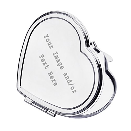 Personalized Silver Compact Pocket Mirror Customizable Mini Travel Makeup Mirror with Your Own Customized Photo and/or Text, Custom Wedding Bridsmaid Gift Christmas Gift for Girls Women, Heart Shape