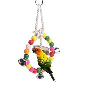 hukai Parrot Bird Bite colgante de perlas de colores Anillo de madera natural Masticar juguete jaula