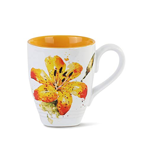 - Dean Crouser Tiger Lily Flower Watercolor Yellow 12 ounce Glossy Ceramic Stoneware Mug
