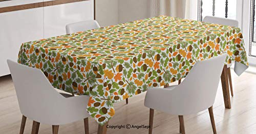Water Resistant Tablecloth,Colorful Autumn Season Maple Leaf Fir Branch and Acorn Forest Elements Cartoon Nature,Dining Room Kitchen Rectangular Table Cover,Multicolor,60104 inch ()