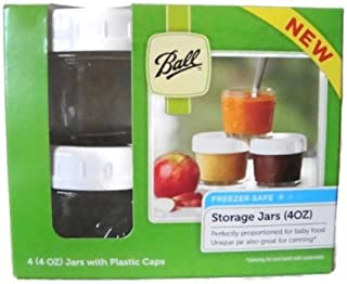 product image for Ball Brand Glass Storage Jars with Plastic Caps - 4 (4oz) Jars and Caps