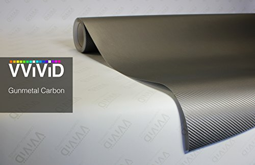 VVIVID XPO Gunmetal Grey Carbon Fiber 5ft x 1ft Car Wrap Vinyl Roll with Air Release Technology