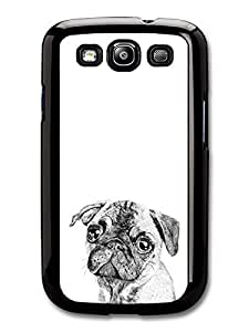 Pug Dog Black and White Sweet Funny Illustration case for Samsung Galaxy S3