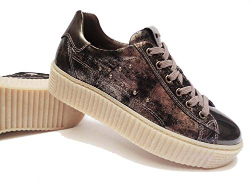 Sneakers 3 Zeppa Cm Giardini In 39 Pelle Alt num Nero Donna Scarpe Col Bronzo tBqRwP