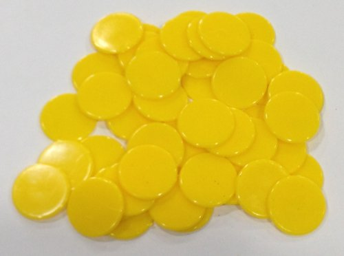 Plastic Counters: Yellow Color Gaming Tokens (Hard Colored Plastic Coins, Markers and Discs for Bingo Chips, Tiddly Winks, Checkers, and Other Board Game Playing Pieces) (Token Plastic)