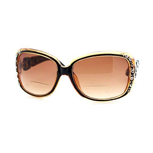 Frame Brown Lenses Rhinestones - Womens Bifocal Lens Sunglasses Oversized Square Rhinestone Frame (Brown, 1.75)
