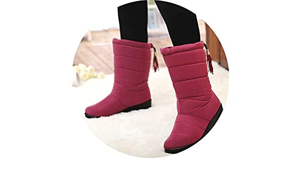 Amazon.com | Women Boots Mid-Calf Down Boots High Bota Waterproof Ladies Snow Shoes Woman Plush Insole Botas, Red, 7 | Boots