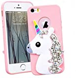 SmartLegend Case for Apple iPhone 5 5S SE, Silicone Cute 3D Cartoon Unicorn Girly Design Ultra Light Slim Flexible Protective Case Cover Gel TPU Rubber Bumper iPhone 5 Case Pink