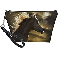 Horse Decor Useful Cosmetic Bag,Chestnut Horse Profile on Dramatic Cloudy Sunset Sky Strong Wild Young Mammal Decorative for Travel