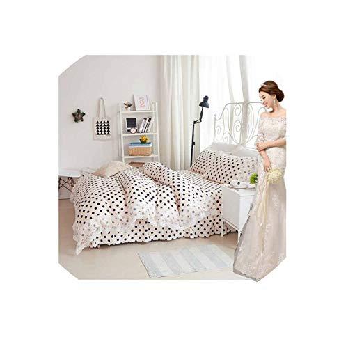 Korean Princess Bedding Set Cotton 4Pcs Girls Lace Duvet Cover Set King Queen Wedding Bedclothes Bed Sheet Bedspread Pillowcases,F,4Pcs King Size