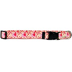 "Yellow Dog Design Pink Elephants Dog Collar with Tag-A-Long ID Tag System-Medium-1"" and fits Neck 14 to 20"""