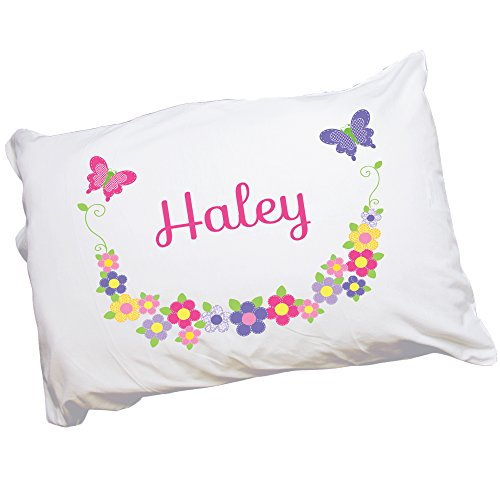 MyBambino Child's Personalized Butterfly Garland Bright Pillowcase