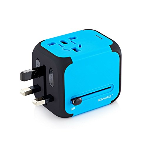 International Travel Power Adapter with 2.4A Dual USB Charger & Worldwide AC Wall Outlet Plugs for UK, US, AU, Europe & Asia – Built-in Spare Fuse, Gift Pouch – Blue