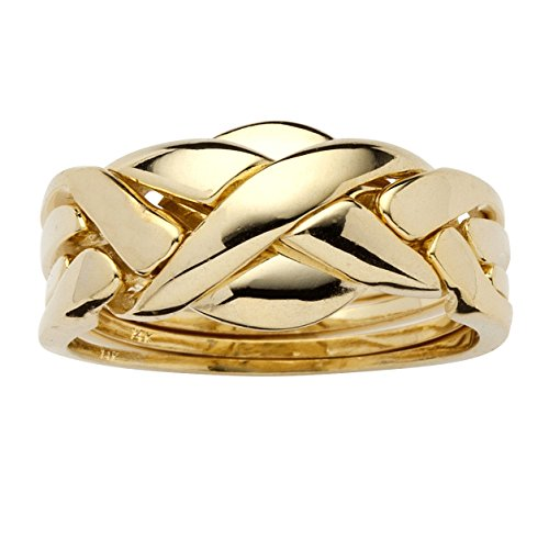 14k Yellow Gold Plated Braided Puzzle Ring Buy line in UAE