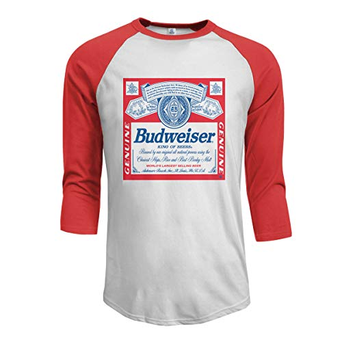 Mens Baseball Tee T-Shirt Bud-Weiser King of Beers 3/4 Sleeve Raglan Casual Athletic Performance Jersey Shirt, 100% Cotton ()