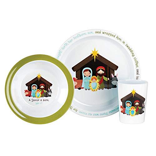 Nativity Scripture Classic White 8 x 8 Melamine Christmas Plate Bowl Cup Set (Christmas Kids For Melamine Plates)