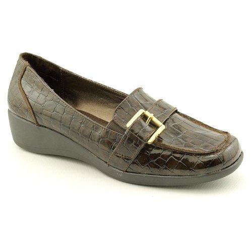 Karen Scott Samor Womens Slip On Wedge Heel Loafer Shoe Brown Synthetic Size 6