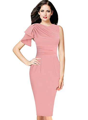 VfEmage Women's Celebrity Elegant Ruched Wear to Work Party Prom Bodycon Dress 9523 PIK 12 - Ruched Ball
