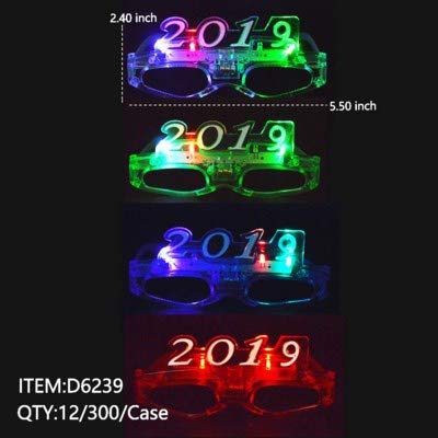 Wii 1 Dozen 2019 Happy New Year 2019 LED Party Supplies Light Up Flashing Multi-Color Party New Years Eve Times Square Sun Glasses, Assorted Colors, 12-Pack (Best New Years Eve Jokes)