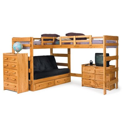 wood bunk bed with futon - 9