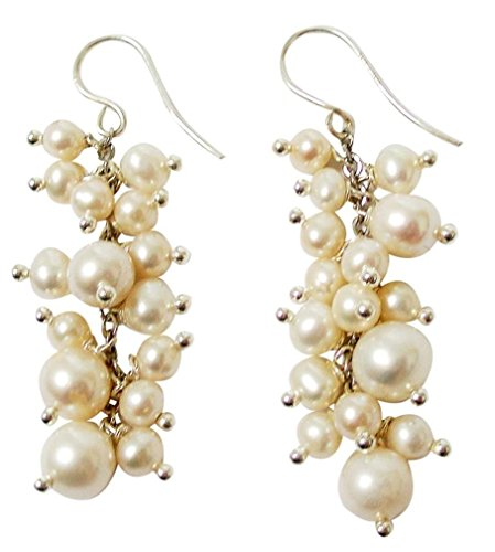 Dainty White Cluster Rice Cultured Pearl Sterling Silver Drop Earrings