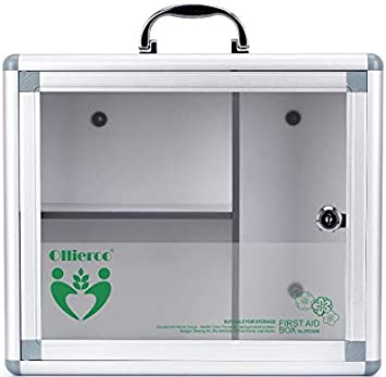Caja de primeros auxilios para almacenamiento de medicamentos, montaje en pared/pastillero de mano, caja compacta e higiénica con cerradura para medicinas y seguridad del hogar y herramientas: Amazon.es: Hogar