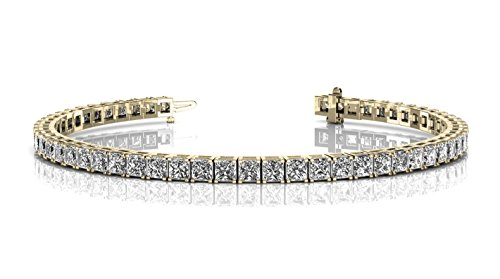 Princess Cut Stones Tennis Bracelet (Womens Gold or Silver Plated Princess Cubic Zirconia Tennis Bracelet (Yellow))