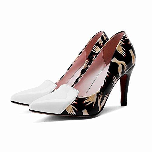 MissSaSa Donna Scarpe col Tacco a Cono Moderno e Moda (34, bianco)
