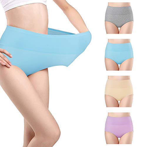 Fidus Women's 4 Pack High Waist Tummy Control Cotton Briefs Underwear Soft Stretch Breathable Comfortable Panties 1P1LB1A1G-XL
