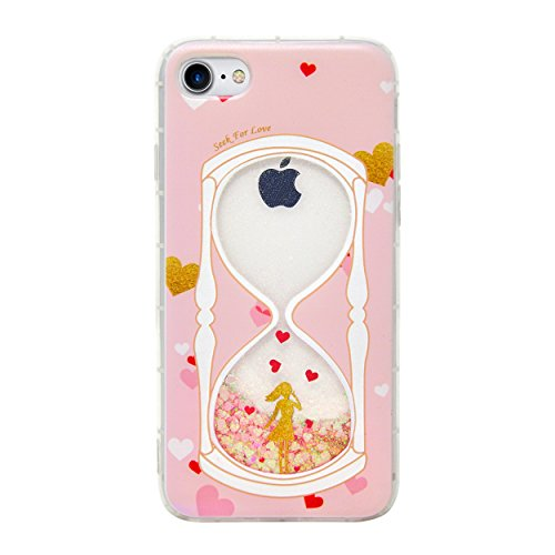 iPhone 8, iPhone 7 Case, Quicksand and Liquid Glitter with Cute Textured Pink Design, Protective and Shockproof Soft TPU, Bling Gift for Teens, Women, Girls. Made for iPhone 7/8 ()