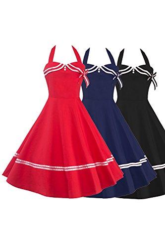 Babyonlinedress Vestido vintage y casual vestido de verano cuello de halter sin mangas falda plisada espalda elástica estilo escolar a los años 50 vestido de fiesta de coctel azul marino