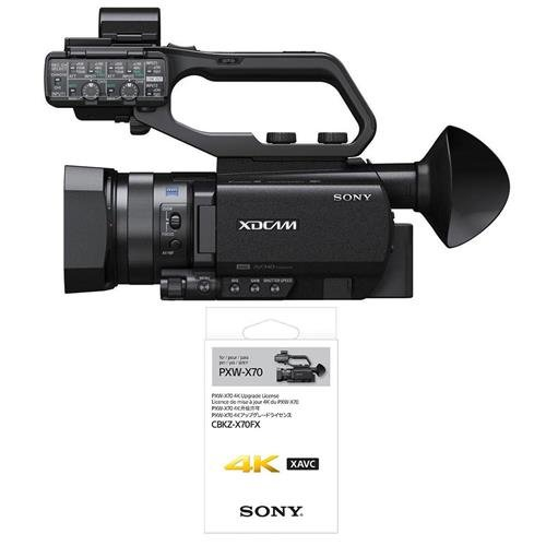 Sony PXW-X70 XDCAM Hand-Held Camcorder, 1'' Exmor R CMOS Sensor, 12x Optical Zoom, 48x Digital Zoom, USB/HDMI - Bundle with Sony 4K Upgrade License Key for PXW-X70 Camcorder