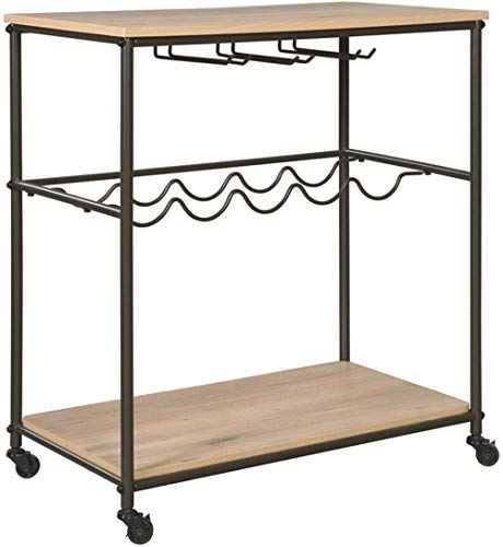 Ashley Furniture Signature Design - Jadonport Bar Cart - Contemporary Style - Casters - Triple Stemware Holder - 5-Bottle Wine Rack - Brown / Black