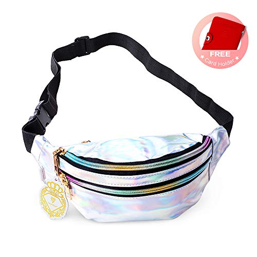 Fanny Pack Belt Bag, Holographic Fanny Packs for Women Men Kids, Fashion Waterproof Waist Pack with 3 Pouches Adjustable Strap, Shiny Casual Bags Cute Bum Bag Hip Sacks for Travel Festival Hiking Rave -