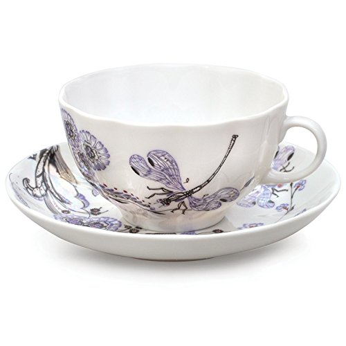 Lomonosov Porcelain Tea Set Cup and Saucer Dragonfly Wisper 8.45 oz/250 ml