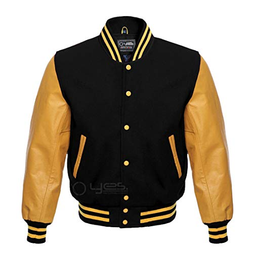 Letterman Baseball Sportswear Varsity Bomber Jacket Wool & Genuine Leather Gold/Black (L)