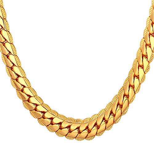 U7 Men Chunky Necklace 18KGP Stamp Hip Hop Jewelry Thick 9MM Wide Gold Plated Snake Curb Chain - 32 Inches -