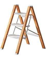 3 Steps Ladder Anti-Slip Foldable White Aluminum Lightweight and Wide Pedal for Home and Kitchen Space Saving