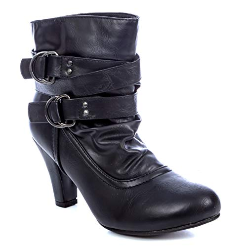 River Albert Ankle Charles Low Heel Women's Booties Black wOqTndE