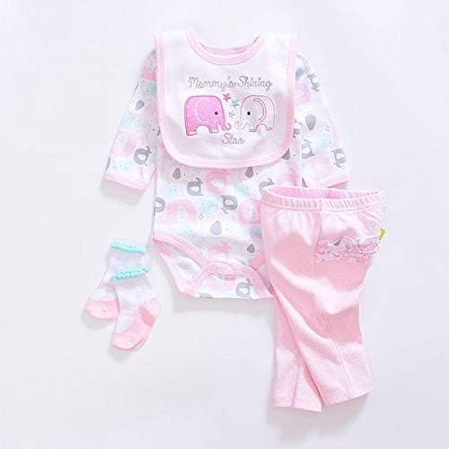LIXIUQING Kinderbekleidungsset, weibliche Kinderkleidung aus Baumwolle, Strumpfhosen, Jungenanzug, 4 Stück langärmeliger Baby-Strampler + Hosen + Socken + Lätzchen |Kleidungsset |