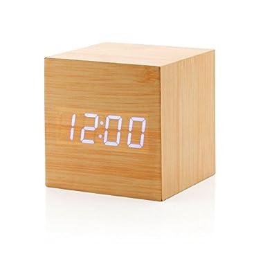 Sungwoo 112233 Digital Wood Grain Alarm Clock