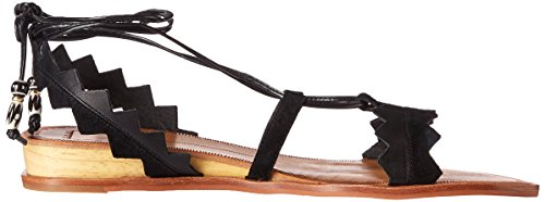 Dolce Vita Women's Pedra Flat Sandal Black Leather 67VMSqZ4Qt