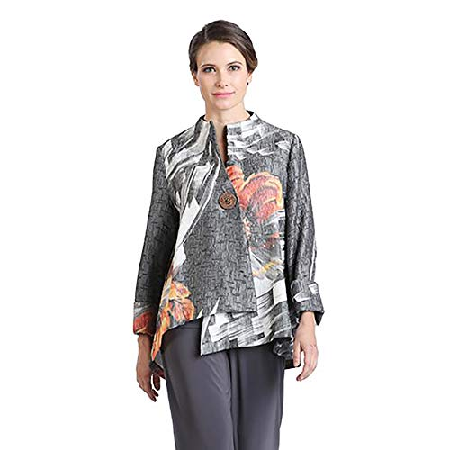 IC Collection Abstract Print Asymmetric Jacket in Grey Multi - 2063J (Medium)