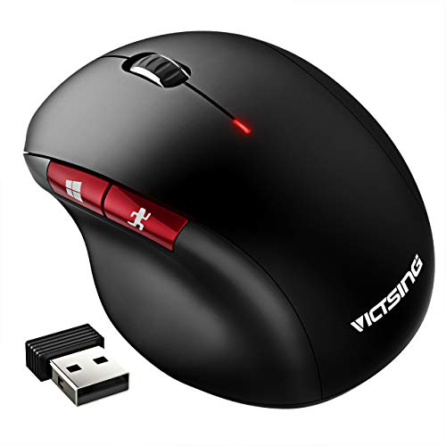 VicTsing Wireless Mouse, [Noiseless Clicks] 2.4G Optical Vertical Mouse with USB Nano Receiver, 4 Buttons,3 Adjustable DPI 1600/1200/800/, for Notebook, PC, Laptop, Computer, MacBook, Black