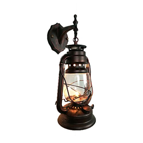 "Yue Jia Rustic Lantern Wall Mounted Light Industrial Vintage Style Wall Sconce Glass Shade Lighting Fixture for Bedroom Beside Hallway Living Room Restaurant ( 1 Light) W7"" x H15"""