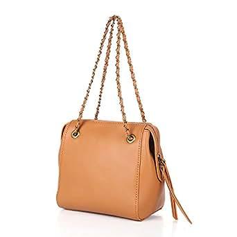 4ffa20dd811 Bolso de bandolera de cuero para mujer Doble cremallera Cadena de metal  Bolsa de cercanías (
