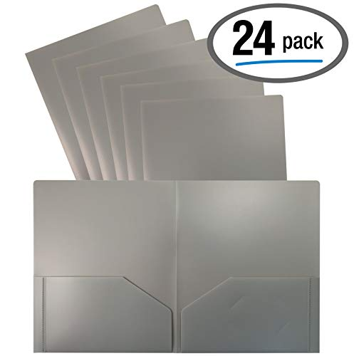 Heavyweight Gray Plastic 2 Pocket Portfolio Folder, 24 Pack, Letter Size Poly Folders, by Better Office Products, 24…